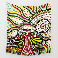 rasta Wall Tapestries featuring Rasta by Marcela Caraballo