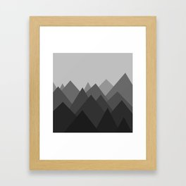 Black and White Abstract Mountains Framed Art Print