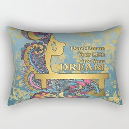 Gymnastics- Live your Dream- In Turquoise and Gold Watercolor Doodle Design Rectangular Pillow