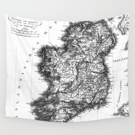 Vintage Black and White Ireland MAp Wall Tapestry
