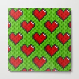 Knitted heart pattern - green Metal Print