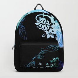 Surfing, tropical design with surfboard and flowers Backpack