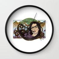 regina mills Wall Clocks featuring regina nouveau by raynall