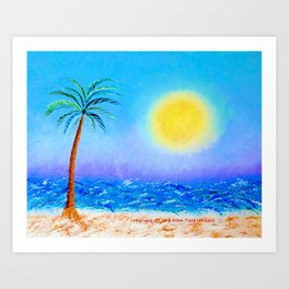 """Belmont's Beach #4"" Oil Painting with Palm Tree Art Print"