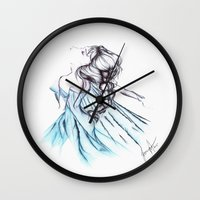 frozen elsa Wall Clocks featuring Frozen Elsa by Jeanette Perlie