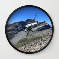 archan nair Wall Clocks featuring Piz Nair View by Helle Gade