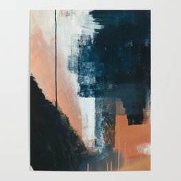 Vienna: a minimal, abstract mixed-media piece in pinks, blue, and white by Alyssa Hamilton Art Poster