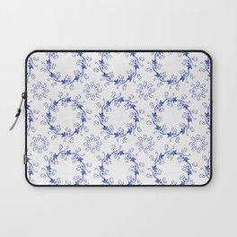 Blue floral ornament on a white background Laptop Sleeve