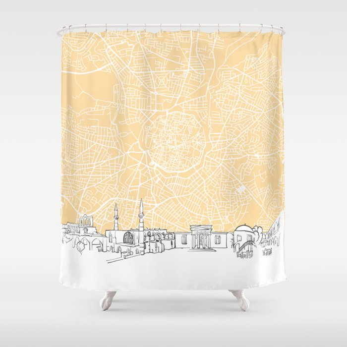 Nicosia Cyprus Skyline Map Shower Curtain