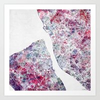 liverpool Art Prints featuring Liverpool map by MapMapMaps.Watercolors