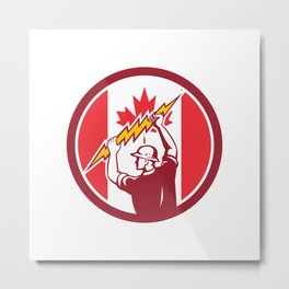 Canadian Electrician Lighting Bolt Canada Flag Icon Metal Print
