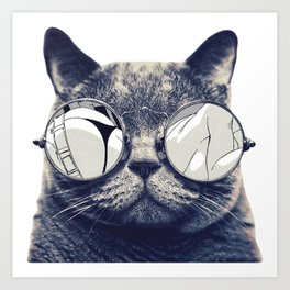 cat with glasses Art Print