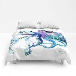 Octopus, Turquoise Green Purple Pink Octopus Design Comforters