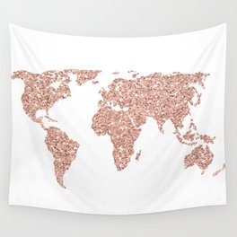 Rose Gold Glitter World Map Wall Tapestry