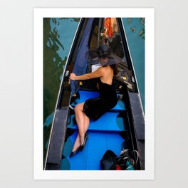A lady on the boat, Street photography, urban, street photo, colorful, city, scene Art Print