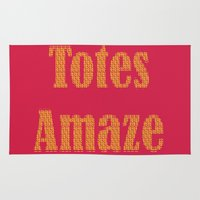 totes Area & Throw Rugs featuring Totes Amaze Pink/Yellow by Genevieve Moye