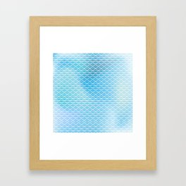 White lace on the watercolor background Framed Art Print