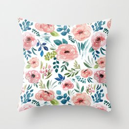 Avaleigh Floral Print, Pink Watercolor Flowers, Pink Blossoms, Light and Airy Throw Pillow