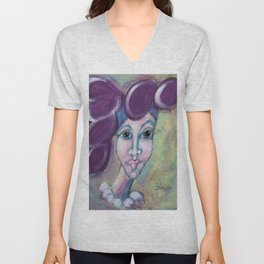 Lady in the Purple Hat Unisex V-Neck