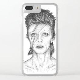 David Bowie Portrait Clear iPhone Case