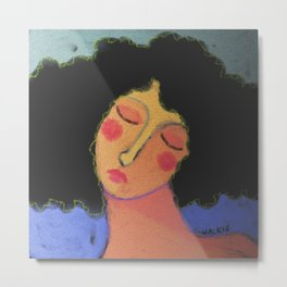 Woman with Frizzy Hair Abstract Digital Painting  Metal Print