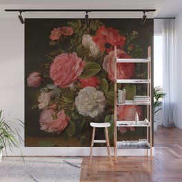 "Jacob van Hulsdonck ""Roses in a Glass Vase"" Wall Mural"