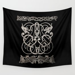 Old norse design - Two Jellinge-style entwined beasts originally carved on a rune stone in Gotland. Wall Tapestry
