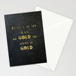 Gold will always be gold - black leather gold letters Stationery Cards