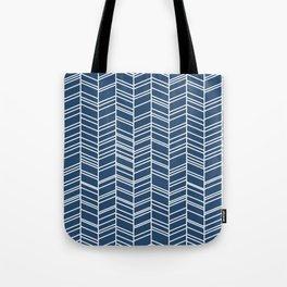 Navy Herringbone Tote Bag