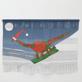 Christmas Dinosaur Snowboarding in a Santa Hat Wall Hanging