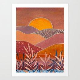 Warm abstract landscape Art Print