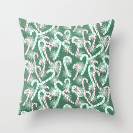 Frosty Canes Green Throw Pillow