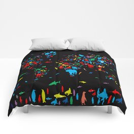 world map animals black Comforters
