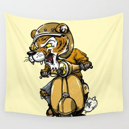 Tiger riding a motorbike Wall Tapestry