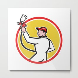 Painter Spray Paint Gun Side Circle Cartoon Metal Print