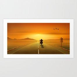 Biker On Route 66 Art Print