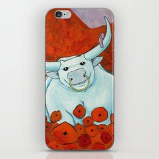 Bull In Poppies iPhone & iPod Skin