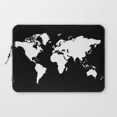 Black white world map Laptop Sleeve