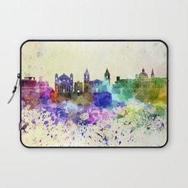 Valletta skyline in watercolor background Laptop Sleeve