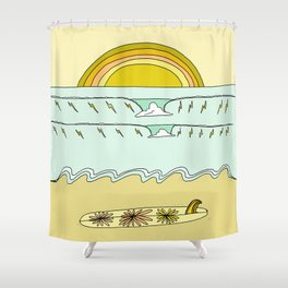 single fin simple life // longboard retro surf art by surfy birdy Shower Curtain