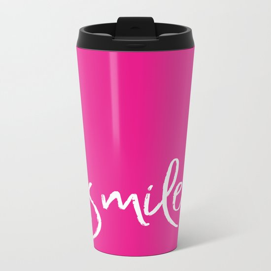 Smile- Funny Typography on simple pink background texture on #society6 Metal Travel Mug