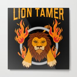 Lion Tamer Cage Behind Bard Ring Of Fire Metal Print