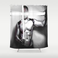 christ Shower Curtains featuring Masked Christ by Nasayousef