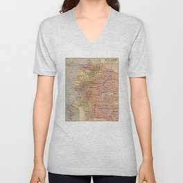 Vintage Map of Ecuador (1913) Unisex V-Neck