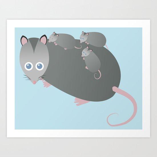 Adorable Mommy Possum Art Print