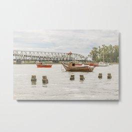 Boats at Santa Lucia River in Montevideo Uruguay Metal Print