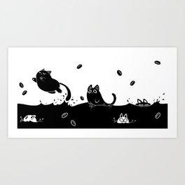 Coffee Cats Art Print