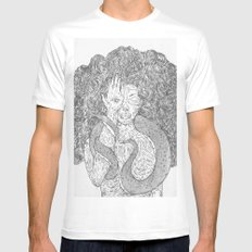 Snake and Sprite White Mens Fitted Tee SMALL