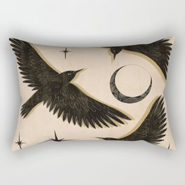 Black birds flying with the Moon Rectangular Pillow