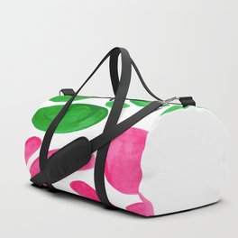 Abstract Minimalist Mid Century Modern Colorful Pop Art Complementary Pink Green Floral Bubbles Duffle Bag